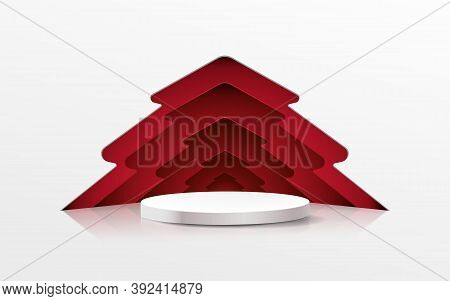 3d White Circle Podium Display With Christmas Tree In Paper Cut Style. Vector Illustration