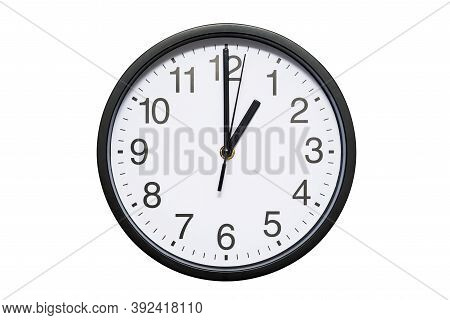 Wall Clock Shows Time 1 O'clock On White Isolated Background. Round Wall Clock - Front View. Thirtee