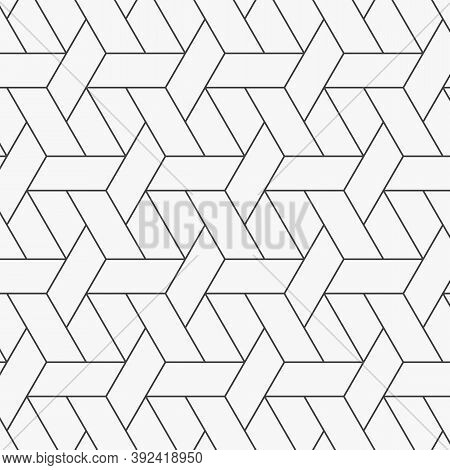 Geometric Vector Pattern, Repeating Seamless Hexagon Weave Background Pattern. Pattern Is Clean For