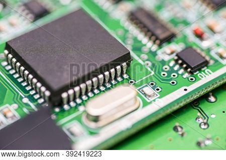 Computer Motherboard. Chip Close Up On A Integrated Circuit. Electronic Circuit Board Close Up. Tech