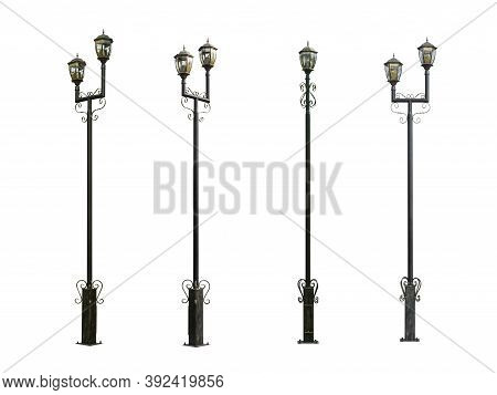 Set Of Street Lamps On White Background. Lamp Post Collection. Street Lampost Set. Streetlight Colle