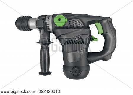 Modern, New, Powerful, Professional Hammer Drill With The Function Of A Jackhammer, On A White Backg