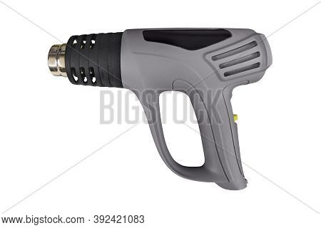 Electric Heat Gun Isolated On A White Background. Side View Image Of An Electric Heat Gun Isolated I