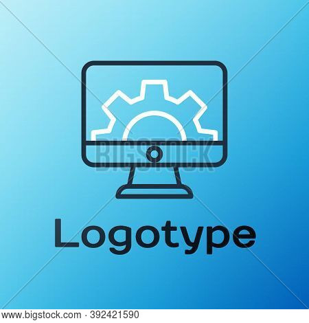 Line Software, Web Development, Programming Concept Icon Isolated On Blue Background. Programming La