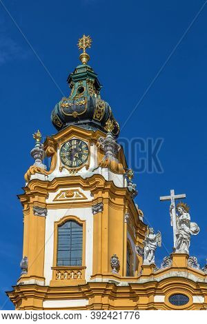 Melk Abbey Is A Benedictine Abbey Above The Town Of Melk, Lower Austria, Austria. Clock Tower
