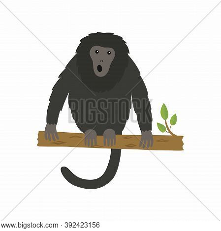 Vector Illustration Of Animal Howler Monkey, Howling On A Tree