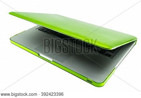 White Blank Screen Space For Text And Design On Laptop Computer. Modern Laptop With Green Color Fram