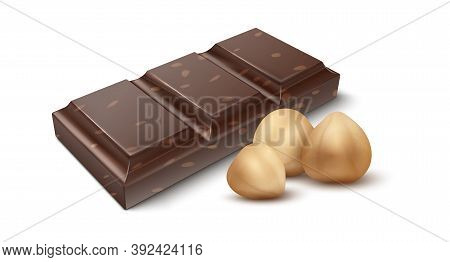 Chocolate With Nuts. Realistic Piece Of Cocoa Dessert And Shelled Hazelnuts. Sweet Snack, Natural In