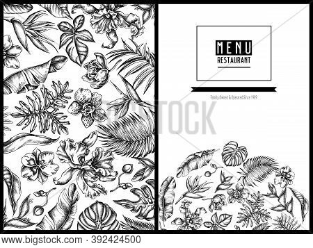 Menu Cover Floral Design With Black And White Monstera, Banana Palm Leaves, Strelitzia, Heliconia, T
