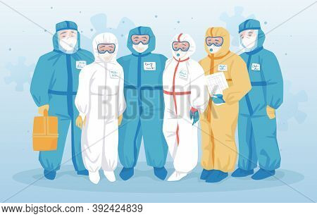 Doctors Protective Suits. Special Clothing Protects Medical Workers From Infection, Coronavirus Prec