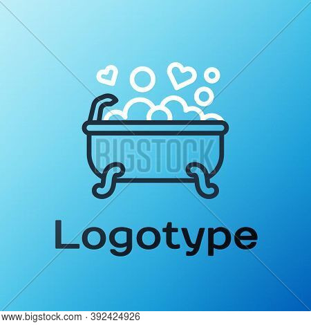 Line Romantic In Bathroom Icon Isolated On Blue Background. Concept Romantic Date. Romantic Bathroom