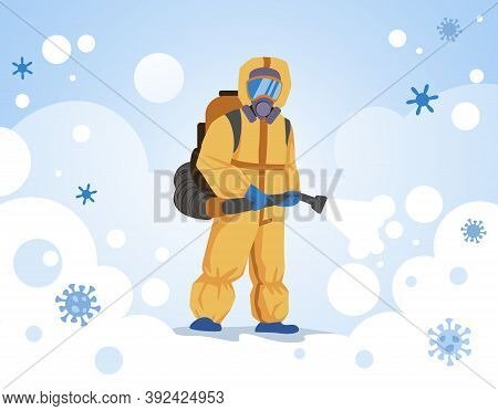Decontamination. Medical Worker In Protective Suit Sprays Disinfectant. Doctor Wearing Special Overa
