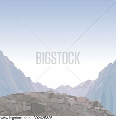 Painted Sky Background With Rock Ledge Mountain Overlooking Highlands