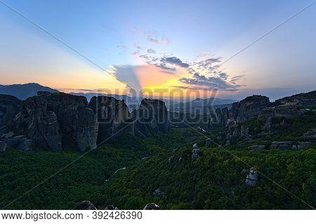 Monastery Of Varlaam, Holy Monastery Of Saint Nicholas, Monastery Of Rousanou And Megalo Meteoro At