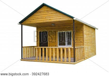 Wooden House Isolated On White Background. Construction Of A New Wooden Bath In A Summer Cottage