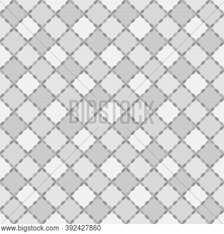 Seamless Surface Pattern Design With Grey Quilts. Ethnic Carpet Background. Patchwork Wallpaper. Qui
