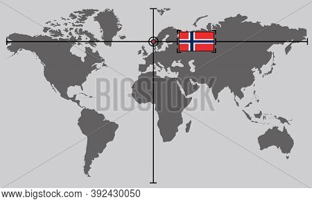 World Map With Coordinate Point Positioned By Crossed Lines On Country Norway