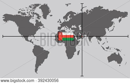 World Map With Coordinate Point Positioned By Crossed Lines On Country Oman