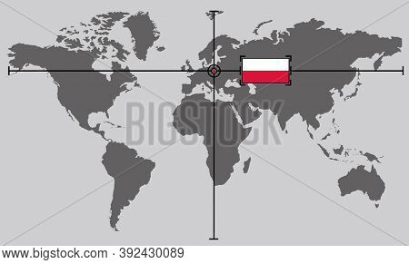 World Map With Coordinate Point Positioned By Crossed Lines On Country Poland