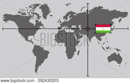 World Map With Coordinate Point Positioned By Crossed Lines On Country Tajikistan