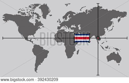 World Map With Coordinate Point Positioned By Crossed Lines On Country Thailand