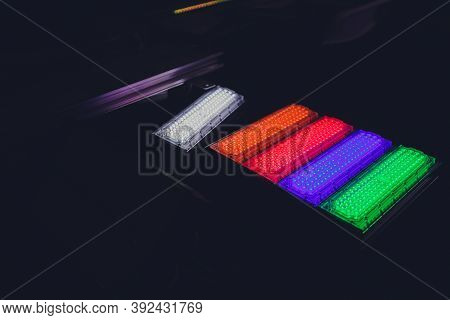 Led Strip In Purple Colors And A Control Panel For Switching Colors.
