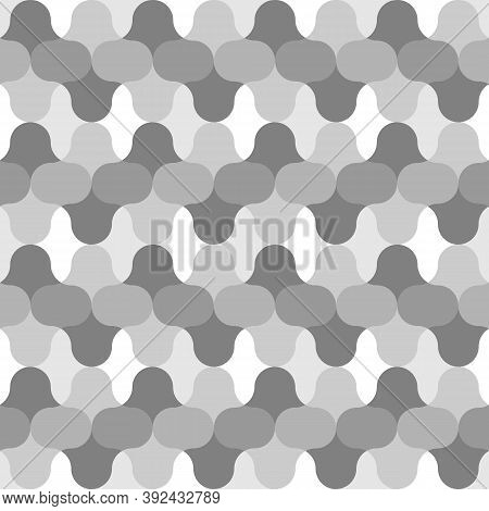 Colorless Figures Tessellation Background. Image With Floral Shapes. Ethnic Mosaic Tiles Motif. Anci