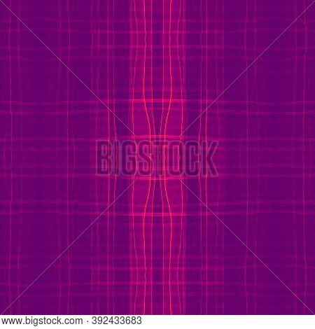 Pink Abstract Check Pattern. Watercolor Tartan Textile. Retro Squares For Kilt Design. Seamless Chec