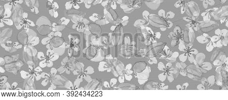 Japanese Spring. Gray Rose Branch. Modern Japan Wallpaper. Watercolor Vintage Pattern. Pink Japanese