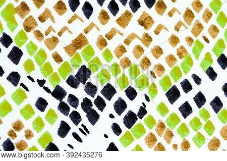 Predator Pattern. Colorful, Multicolor Design. Aligator Leather Wild Surface. Handdrawn Artistic Swi