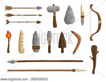 Stone Age Tools Set, Caveman Civilization Culture