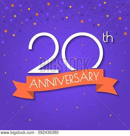 20 Years Anniversary Logo Isolated On Confetti Background. 20th Anniversary Banner With Ribbon. Birt