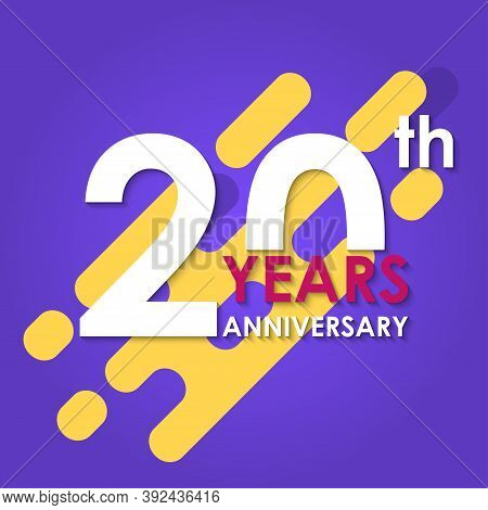 20 Years Anniversary Logo Isolated On Abstract Background. 20th Anniversary Banner. Birthday, Celebr