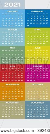 Colorful Calendar For Year 2021 In Vector Format.
