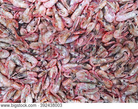 Shrimp At The Fish Market. Shrimps Background Texture. Shrimps. The Fish Market