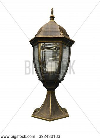 Fence Light On The White Background. Light Lamp For The Fence. Street Lamppost On White Background