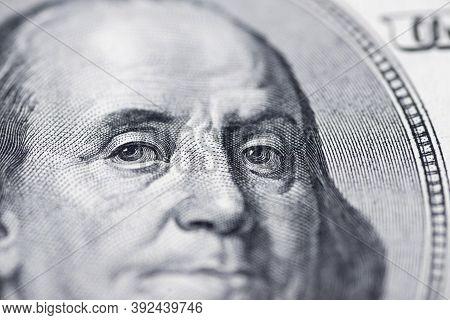 Benjamin Franklin\'s Look On A Hundred Dollar Bill. Benjamin Franklin Portrait Macro Usa Dollar Bank