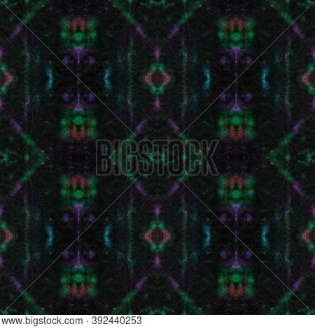 Seamless Watercolor Geometry. Ethnic Background. Ink Painted Artistic Motif. Green, Purple And Black