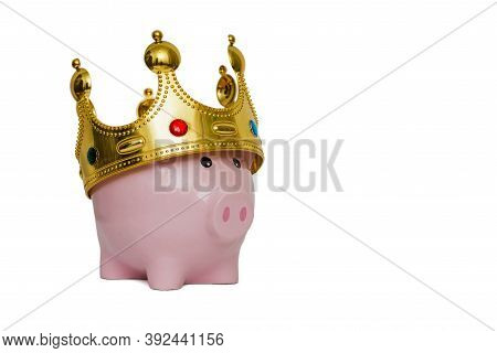 Financial Winner Or King Of Money Savings Concept, Pink Piggy Bank Wearing A Golden Crown On Top On