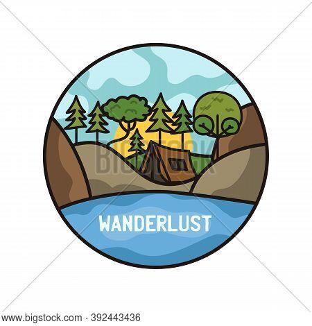 Wanderlust Adventure Logo, Hiking Emblem Design With Camping Scene, Tent And Hills. Unusual Line Art