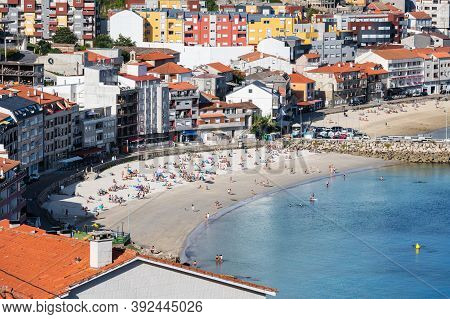 Raxo, Spain - August 28, 2020: Aerial View Of A Typical Galician Village (raxo) In The Ria De Pontev