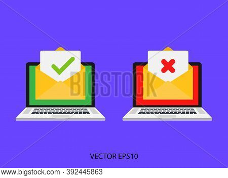 Open Envelope And Document Icon With Green Check Mark. Confirmation Email. Vector Eps10