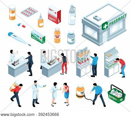 Isometric Pharmacy Set Of Isolated Icons Of Drugs Medical Products And Characters Of Pharmacists Wit
