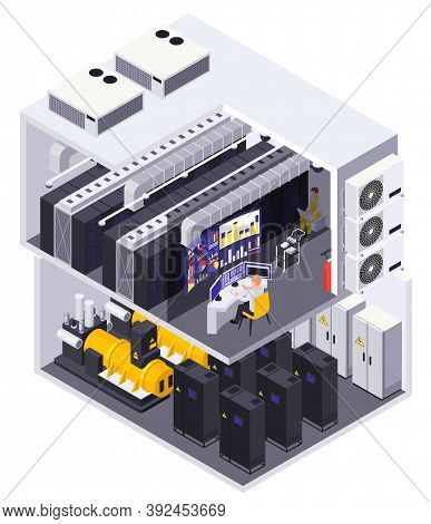 Data Center 2 Story Facility Isometric Cutaway View With Computer Equipment Servers Routers Operator