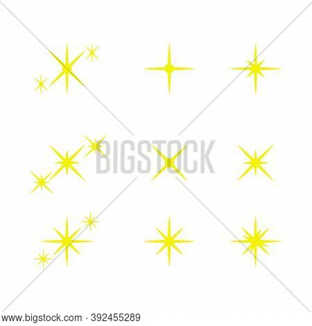 Twinkling Star And Sparkles Icon Collection Isolated On White Background