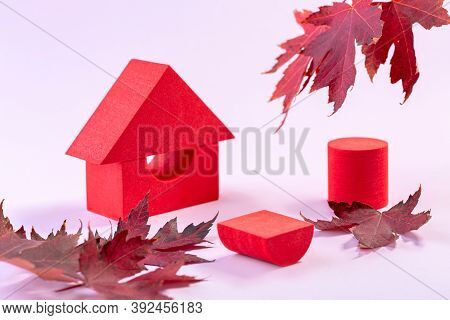 Cylindrical Abstract Minimal Stage With Geometric Platforms And Red Maple Leaves. Abstract Autumn Ba