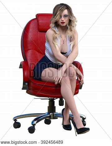 Long-haired Blonde Secretary In Chair.