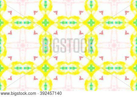 Azulejos Pattern. Shibori Ethnic Ornament. Multi Colorful Background. Abstract Vintage Tile. Handmad