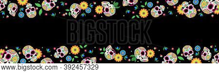 Vector Dia De Los Muertos, Day Of The Dead Or Mexico Halloween Sculls Collection. Sugar Skull. Skull