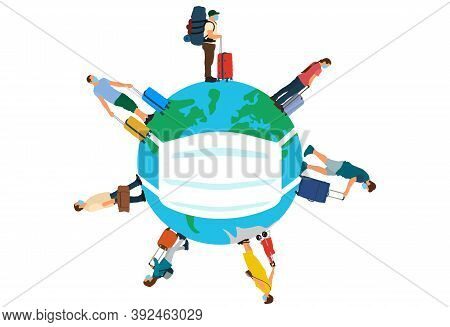 Tourists In Medical Masks With Suitcases (luggages) Standing And Waiting Time Of Travel. Coronavirus